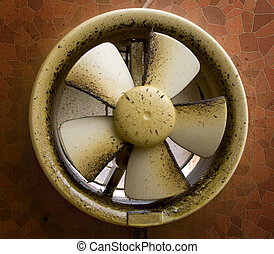 Dirty oil stained exhaust fan - Dirty oil stained kitchen...