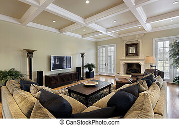 Family roomwith ceiling beams