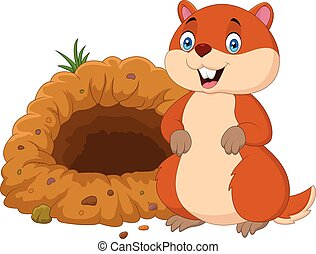 Cartoon groundhog in front of its hole - Vector illustration...