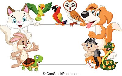 Cartoon pets with blank sign
