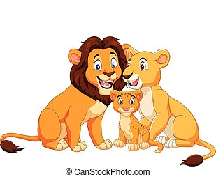 Cartoon lion family isolated on white background - Vector...