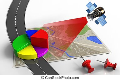 3d business data - 3d illustration of map with business data...