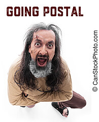 going postal - Crazy looking man with a straitjacket in...
