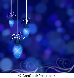 Christmas Lights - Christmas lights illustrated on a blue...