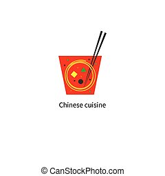 Delivery chinese food in red box with noodles, chopsticks...