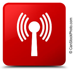 Wlan network icon red square button - Wlan network icon...