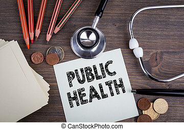 Public Health. Desk with stetascope, background for medical care