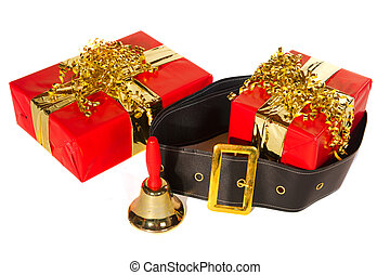Christmas presents in red and gold with cloths from Santa...