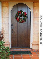 Dark wood Christmas door - Vertical dark wood door with...