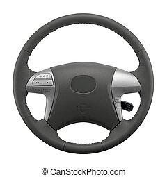 Isolated Car Steering Wheel - Isolated steering wheel of a...