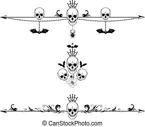 set of horror borders - set of vector dividers with skulls,...