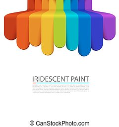 Rainbow paint flows down on a white background.