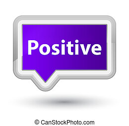 Positive prime purple banner button - Positive isolated on...