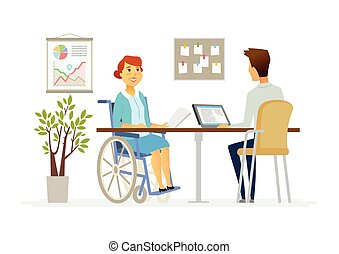 Disabled woman in the office - modern cartoon people...