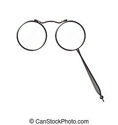 Vintage grey spectacles lorgnette - modern vector realistic...