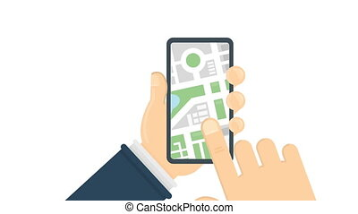 GPS roadmap on smartphone. Hands holding phone with...