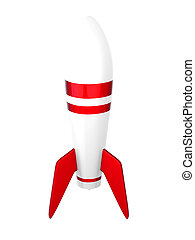 Rocket - 3D rendered Illustration. Isolated on white.