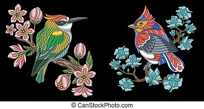 Embroidery design with birds - Kingfisher (australian...