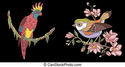 Embroidery design with birds - Pink cockatoo parrot and...
