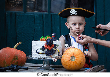 Pirate with a pumpkin - A little pirate with a pumpkin and a...