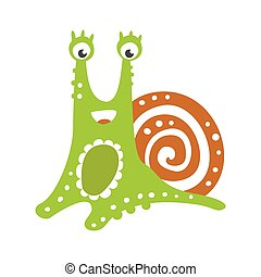 Cute friendly snail character, funny mollusk colorful hand...