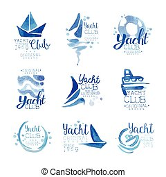 Yacht club since 1969 logo original design set, elements...