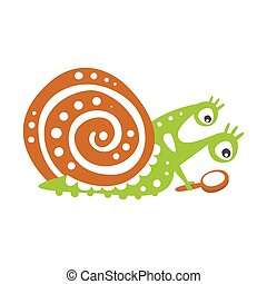 Cute snail character with magnifying glass, funny mollusk...