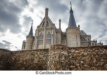 Episcopal Palace and wall in Astorga, Spain - Wide angle...