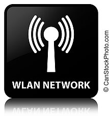 Wlan network black square button - Wlan network isolated on...