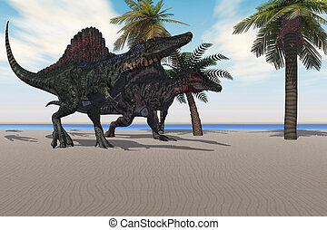 Spinosaurus Walking - Two Spinosaurus dinosaurs amble down a...