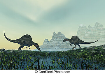 Spinosaurus - Two Spinosaurus dinosaurs drink from a marsh...