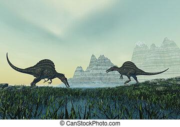 Spinosaurus - Two Spinosaurus dinosaurs drink from a marsh...