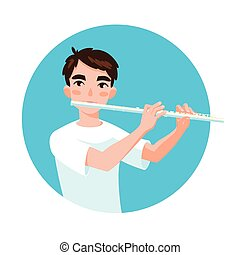 Musician playing flute. Girl flutist is inspired to play a...