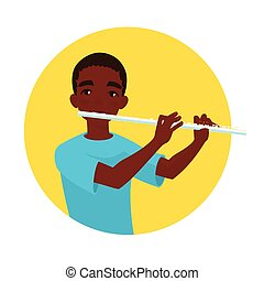 Musician playing flute. Boy flutist is inspired to play a...