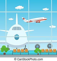 Waiting Room at the Airport , View on Airplanes through the...