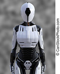 3D rendering of a standing female android robot.