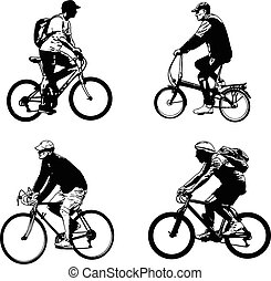 bicyclist sketch silhouettes - illustration vector
