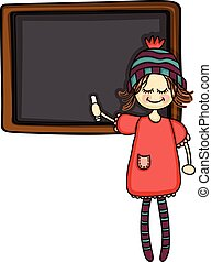 Girl pointing to a blackboard with chalk
