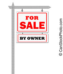 Real Estate For Sale Sign, by owner