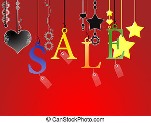 Hanging sale letter with clipping path on red background