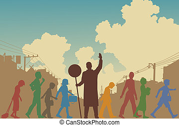 Children crossing - Editable vector silhouettes of colorful...