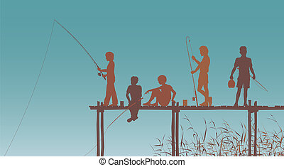 Fishing friends - Editable vector silhouettes of children...