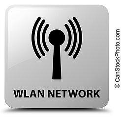 Wlan network white square button - Wlan network isolated on...