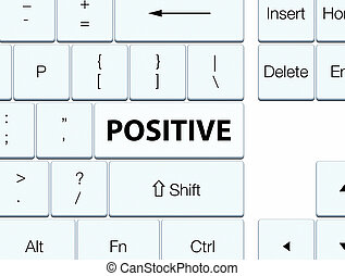 Positive white keyboard button - Positive isolated on white...