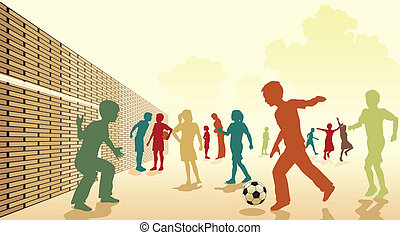 Schoolyard football - Editable vector colorful illustration...