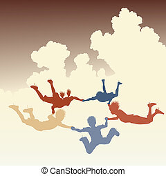 Skydiving friends - Editable vector colorful illustration of...