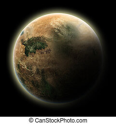 Alien Desert Planet - An fictional desert Planet Isolated on...