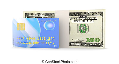 Credit Card and Cash - 3D rendered Illustration. Isolated on...