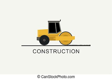 Asphalt compactor at work. Construction machinery in flat...