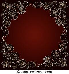 Gold floral frame. - Beautiful gold frame with floral...